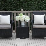 Outdoor Wicker 3 piece patio setting Licorice Black with chaarcoal fabric