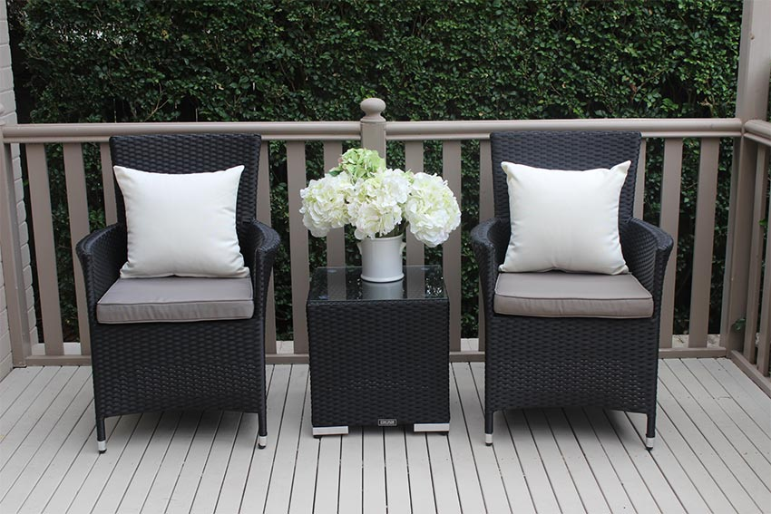 Outdoor Wicker 3 piece patio setting Licorice Black with charcoal fabric
