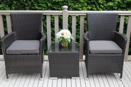GARTEMOEBE CHARCOAL OUTDOOR WICKER PATIO FURNITURE SETTING With CHARCOAL CUSHIONS