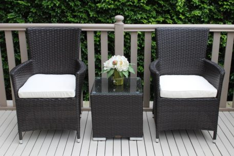 Gartemoebe Charcoal Outdoor Wicker Patio Furniture Setting with Cream Cushions
