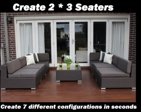 7 ways Outdoor Wicker Setting 2 * 3 seaters