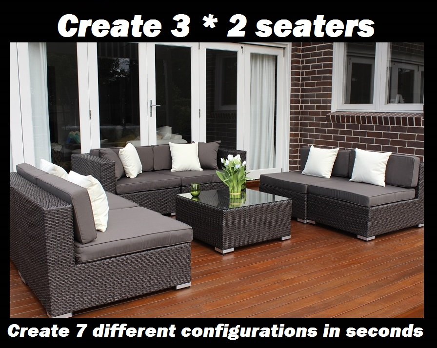 7 ways Outdoor Wicker Setting 3 * 2 seaters