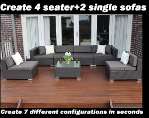 Seven Ways wicker furniture 4 seater and 2 single sofas configuration