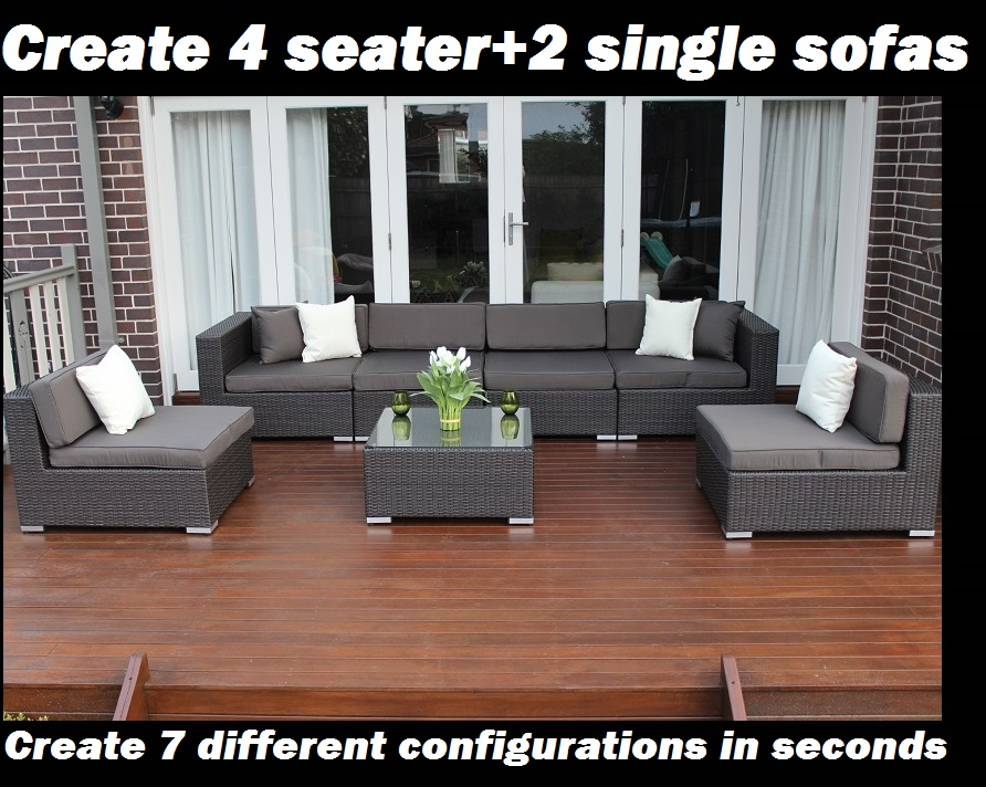 Outdoor Wicker Patio Lounge setting 7 ways 4 seater and 2 single sofas