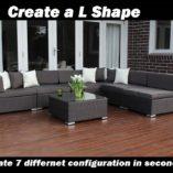 7 ways Outdoor Wicker Lounge Patio setting L shape configuration