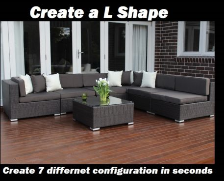 7 ways Outdoor Wicker Lounge Patio setting L shape configuration