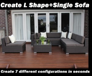 Seven Ways wicker furniture L Shape and single sofa configuration