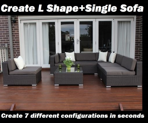 7 Ways Outdoor Wicker Lounge Setting L Shape and Single Sofa Configuration