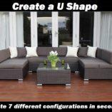 7 ways Outdoor Rattan Lounge Setting U SHAPE configuration