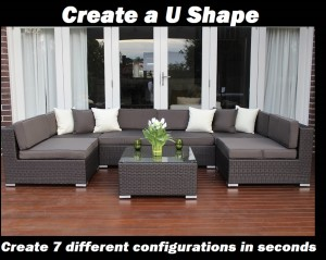 Seven Ways wicker furniture U Shape configuration