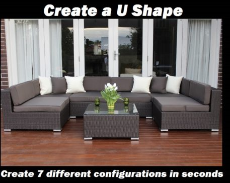 7 ways Outdoor Rattan Lounge Setting U SHAPE Configuration