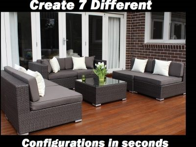 7 Ways Outdoor Wicker Lounge Setting, 3 * 2 Seater Configuration