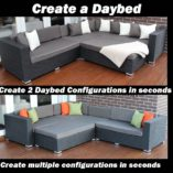 Outdoor Wicker Modular Lounge Setting, Licorice Black with Charcoal Cushions,daybed configuration