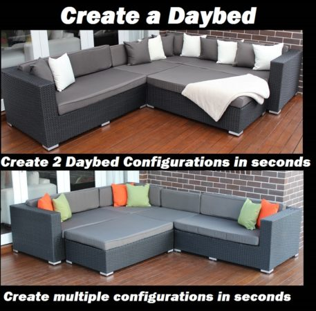 Outdoor Wicker Modular Lounge Setting, Licorice Black with Charcoal Cushions, Daybed Configuration