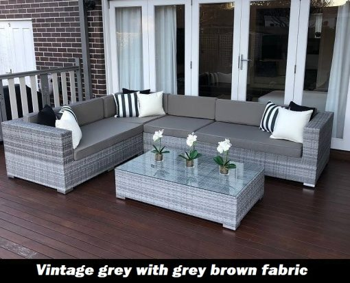 L Shape Modular Vintage Grey outdoor wicker lounge setting with grey brown fabric