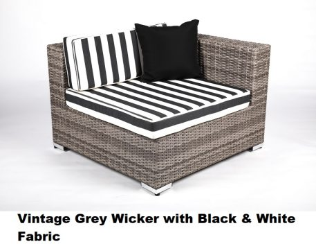 Vintage Grey Wicker with Black & White Fabric
