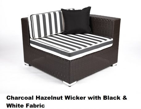 Charcoal Hazelnut Wicker with Black & White Fabric