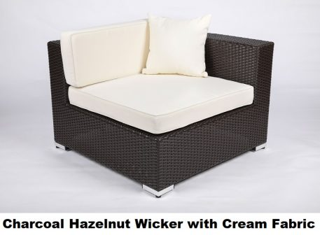 Charcoal Hazelnut Wicker with Cream Fabric