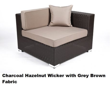 Charcoal Hazelnut Wicker with Grey Brown Fabric