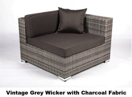Vintage Grey Wicker wigh Charcoal Fabric