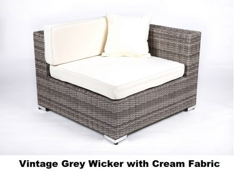 Vintage Grey Wicker with Cream Fabric