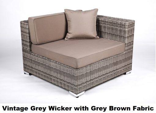 vintage grey wicker square outdoor chair with grey brown fabric cushion cover