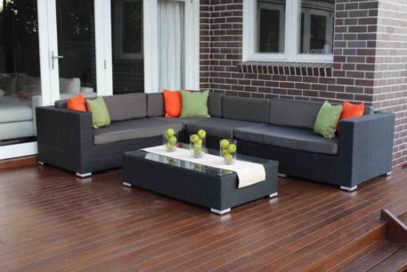 L Shape Outdoor Wicker Setting Charcoal Hazelnut with charcoal fabric