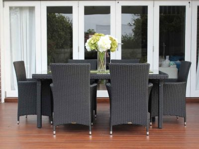 6 Seater Outdoor Wicker Dining Setting, Charcoal Hazelnut
