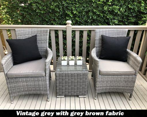 Gartemoebe Patio Set Vintage Grey with Grey Brown seat cushion