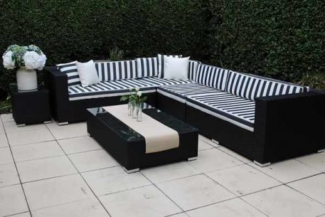 L Shape Black with Black and White Stripes Cushions Small