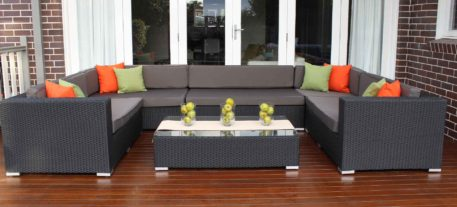 Grand Outdoor Lounge Setting, Charcoal Hazelnut with charcoal fabric