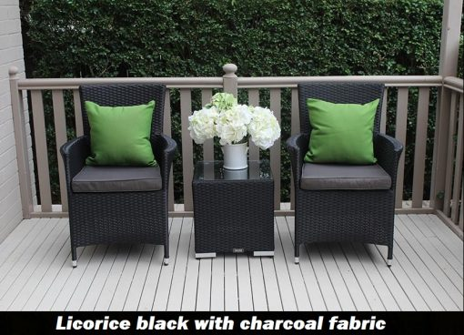 Outdoor Wicker 3 piece patio set Black with charcoal fabric green pillow cushions