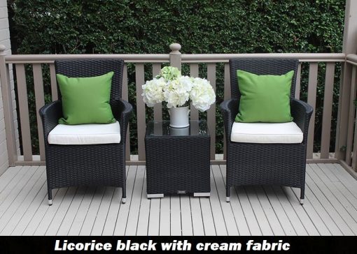 Outdoor Wicker 3 piece patio setting Black with cream fabric cushion
