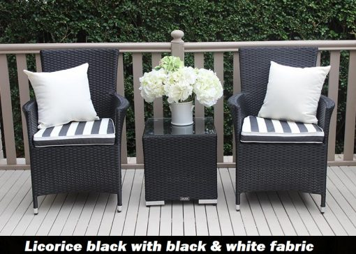 Outdoor Wicker 3 piece patio setting Licorice Black with bw fabric cushions