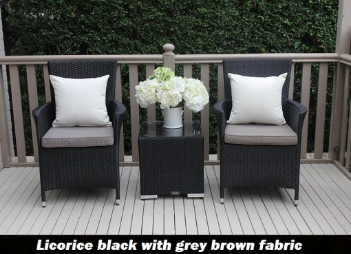 Outdoor Wicker 3 piece patio setting Licorice Black with grey brown fabric
