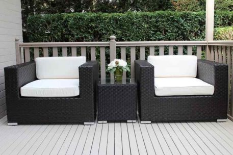 Outdoor Wicker Patio Armchair Setting, charcoal hazelnut with cream fabric