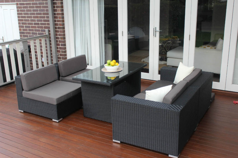 5 Ways Wicker Outdoor setting, Charcoal hazelnut with charcoal fabric