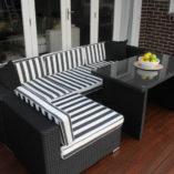 5 Ways wicker outdoor setting Licorice Black wicker with b/w stripe fabric