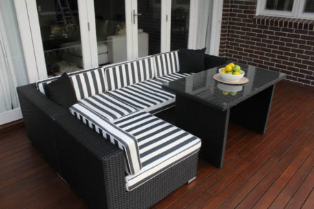 5 Ways wicker outdoor setting Licorice Black wicker with b/w stripe fabric