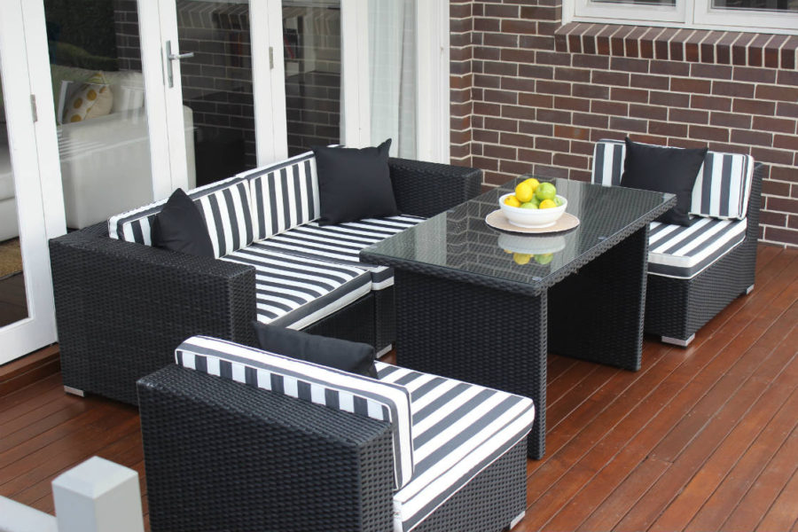 5 Ways Diner Lounge Setting Licorice Black with b/w stripe fabric
