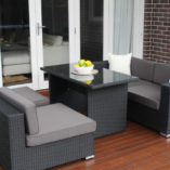 5 Ways Diner Sofa Setting Charcoal hazelnut wicker with charcoal fabric