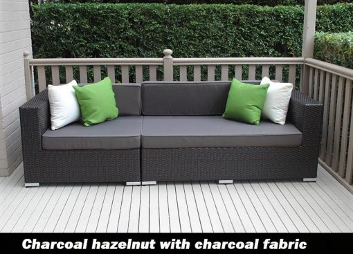 Outdoor Wicker 3 seater lounge Charcoal Hazelnut with charcoal fabric cushions