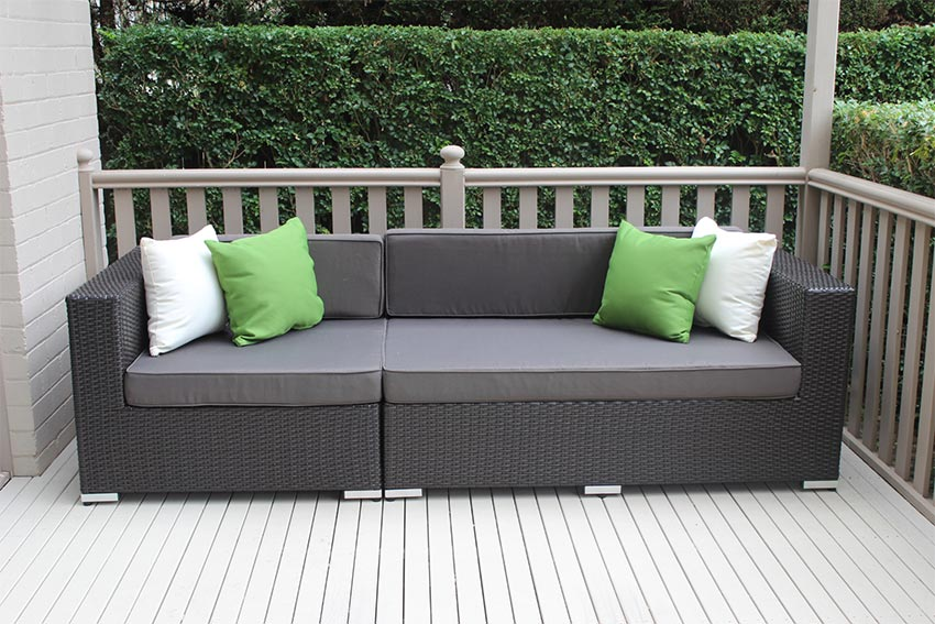 Outdoor Wicker 3 seater lounge Charcoal Hazelnut with charcoal fabric