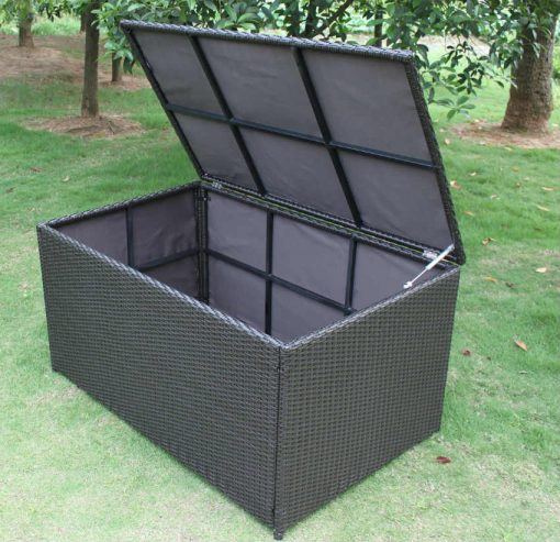 Outdoor Rattan Storage Box Ottomon open position