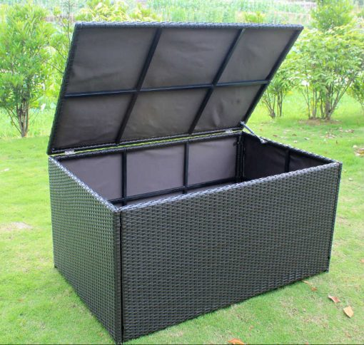 Outdoor Wicker Storage Box Ottomon open position