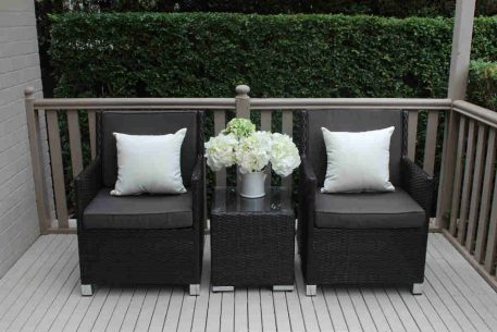 Royale-Patio-Setting-charcoal-hazelnut-with-charcoal-fabric-and-cream-scatter-cushions.