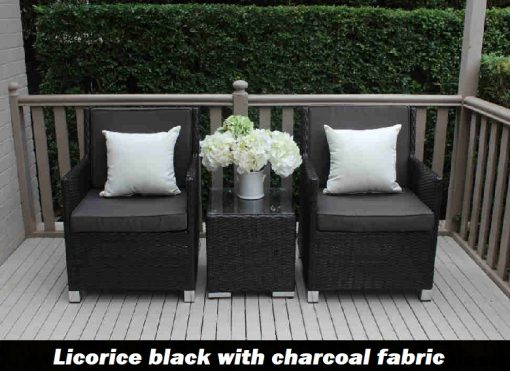 Royale patio setting licorice black with charcoal fabric and cream scatter cushions