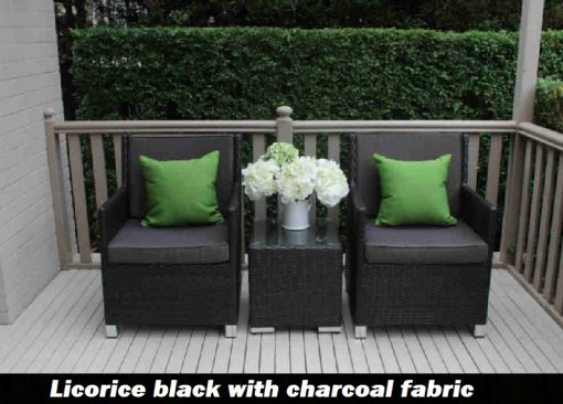 Royale patio setting licorice black with charcoal fabric
