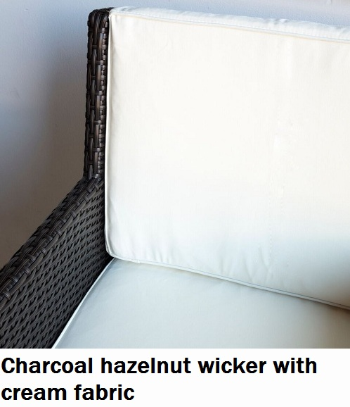 Charcoal Hazelnut with cream Fabric Royale Outdoor Dining Chair