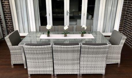 Royal 8 Seater Oblong Dining Vintage Grey set